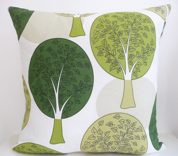 """Scandinavian Pillow Cover with Zipper - Circle Trees in Shades of Green  - 18"""" x 18"""" - Danish Design"""