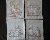 4 vintage hand embroidered quilt square, wheels, duck, train engine, tractor, train car, 7x8