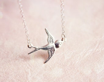 dainty bird bracelet - silver everyday jewelry, gift for her