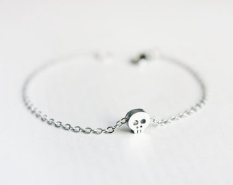 tiny skull bracelet - rhodium plated skull on silver tone chain / gift for her