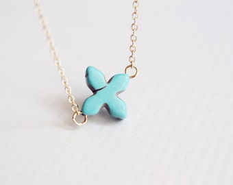 turquoise four leaf clover necklace - dainty good luck necklace / gift for her under 20 usd