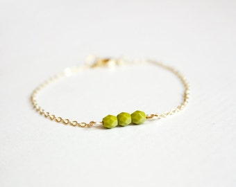 olive green beaded bar bracelet - delicate minimalist jewelry / gift for her under 25