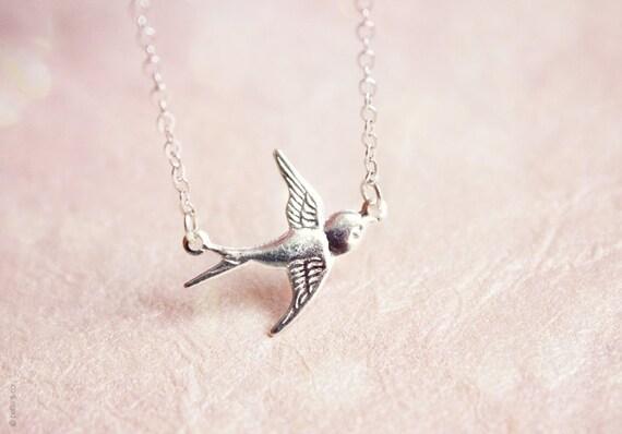 dainty bird bracelet - silver everyday jewelry, gift for her