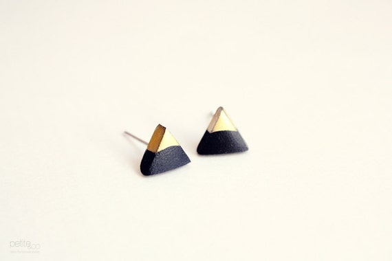 gold dipped triangle studs - black and gold / minimalist geometric earrings - gift for her under 15