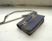 Old Look Leather Book Necklace-Dark Blue