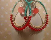 Colorful Coral Hoop Earrings, Hand wrapped hoops, wire wrapped hoop earrings