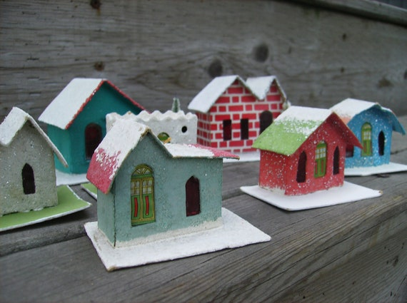 RESERVED FOR SANDY: Vintage Christmas Putz houses set of 7