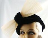 Art Deco 1920s Hat Black Velvet Draped Turban with Cream Flourish This is a Custom Order