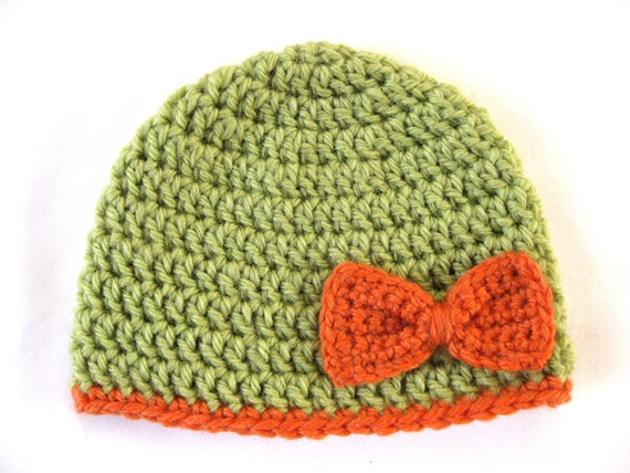 Preemie Hat Pattern Bow Crochet baby by thewhitedaisydesigns