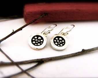 Tiny Round Reflection Dangle Earrings in Sterling Silver