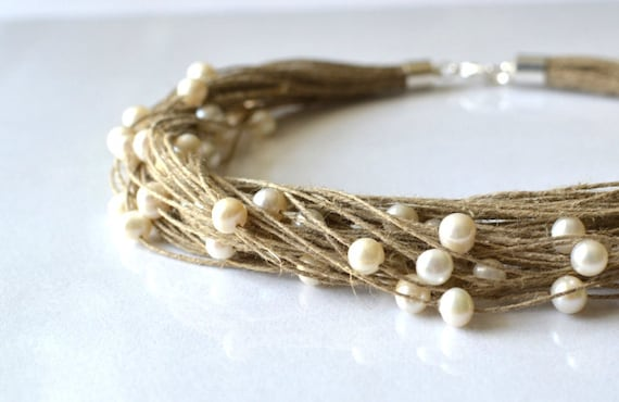 Pearl Linen Necklace White pearl necklace - wedding jewelry, RESERVED FOR CHRISTEN