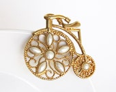 Vintage Bicycle Brooch Pin Peals Gold Tone - Large Filigree - Unique