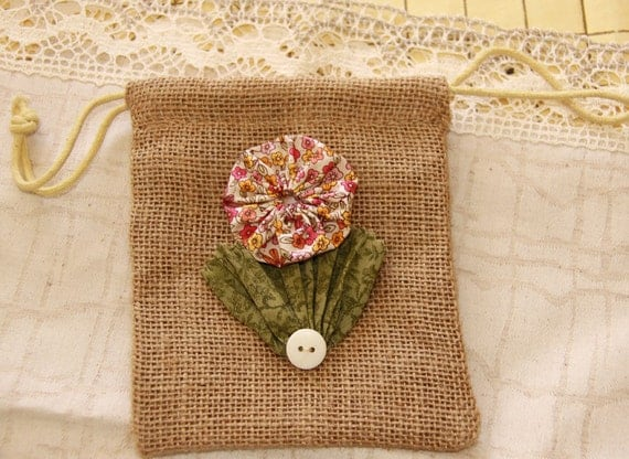 RESERVED FOR GLENDA -Custom Made -  Burlap Gift Bag with One YoYo Flower and a Button for Rustic Wedding and Party Favors