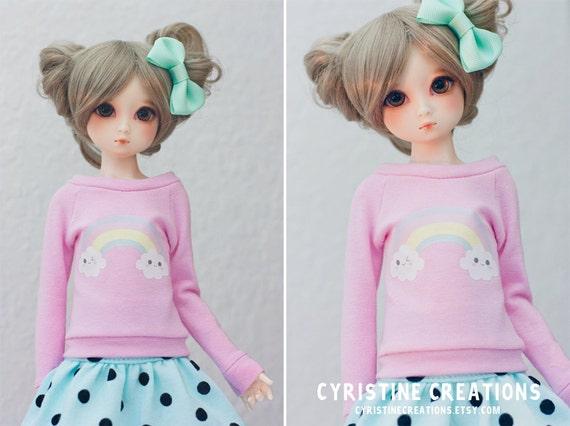 Unoa Minifee slim MSD Kawaii Rainbow Clouds Pink Shirt