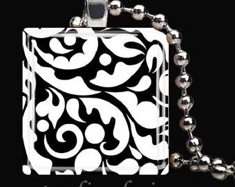 BLACK WHITE DAMASK Fleur de Lis Scrollwork Design Glass Tile Pendant Necklace Keyring
