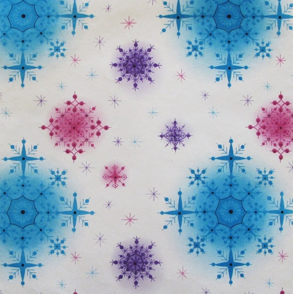Vintage Gibson ATOMIC Christmas Gift Wrap Wrapping Paper Colorful Snowflakes - 1950s