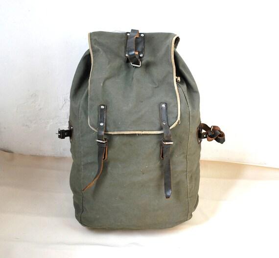Vintage huge military backpack canvas linen leather rucksack bucket shoulder bag olive green