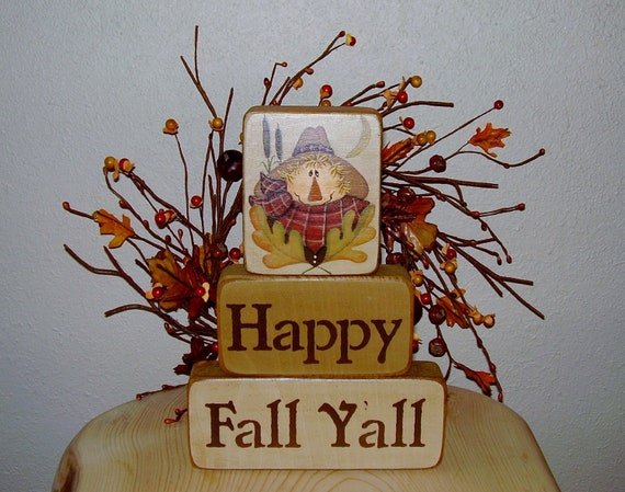 Ready To Ship * Happy Fall Yall Scarecrow Blocks