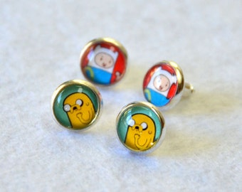 Adventure Time Earrings of Finn and Jake / Fionna and Cake - Buy 1 get 2nd pair half-off