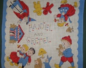 Vintage 1950's Child's Hankie with Hansel and Gretal Fairy Tale H-13 - VintageSouthernLady