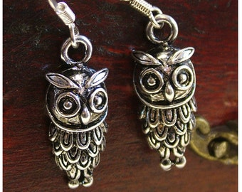 Owl Earrings/OWL Antiqued Silver Colored Dangle Earrings by Watto's Wife /Owls /Silver Owls/Owl Lover/Gift for Owl Lovers/ Gifts for Her