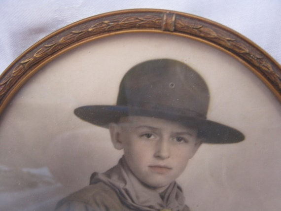Boy Scout in full uniform framed photo - RESERVED
