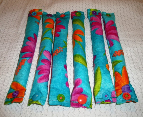 3/4 inch Aqua with Tropical Flowers Fabric Hair Rollers