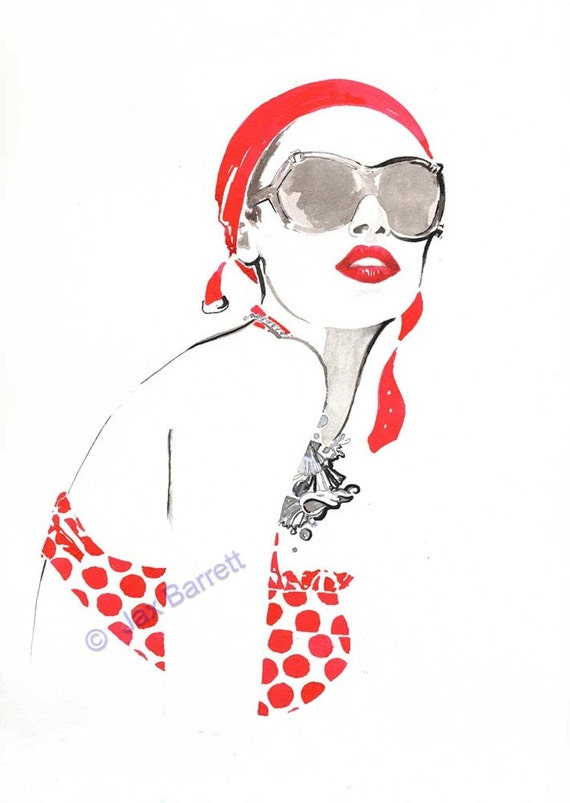 Bathing Belle - Fashion Illustration Giclee Print by Jax with FREE Shipping
