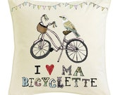Large Ma Bicyclette Printed Cotton Cushion