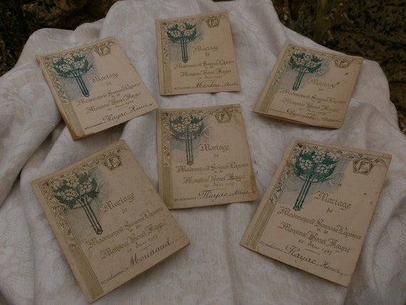 French Antique Document Wedding Menus Hand Drawn And Painted  Flowers Shabby Paris Chic