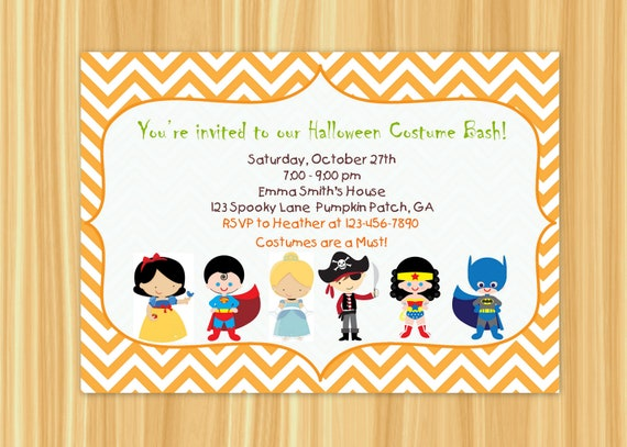Halloween Kids Costume Party Invitation Happy Halloween – Halloween Costume Party Invite
