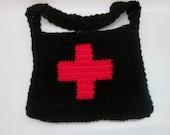 Gothic Red Cross Crochet Unisex Shoulder Bag