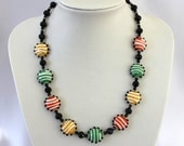 Chunky necklace, green, orange and yellow funky striped handmade beads, very cool, very different