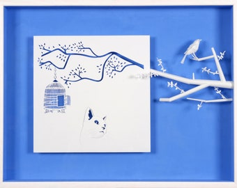 FREEDOM MONITORED - Paper cut and paper sculpture - photographic reproduction on art card