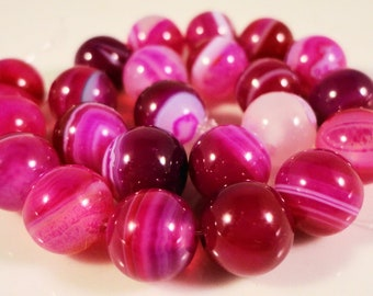 Pink Agate Gemstone Beads 8mm Round Fuchsia Pink Dyed Striped Agate Semiprecious Stone Beads on a 7 1/4 Inch Strand with 23 Beads