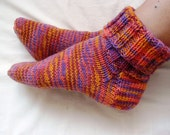Hand knit socks, yellow, orange, purple,  wool socks