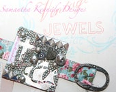 SILVER SEAS - Beaded Bracelet - Buttons, Beads and Charms with VINTAGE buckle