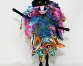 Halloween Witch Handmade Pink Blue Black Art Doll OOAK Broomstick Witches Hat