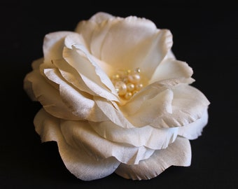 Bridal Flower Hair Clip, Hair Fascinator, Wedding  Bridal Flower Hair Piece with Fresh Water Pearls and Swarovski Crystals