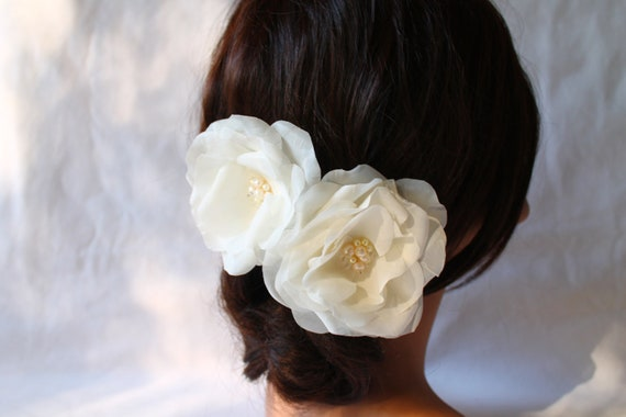 Bridal Flower  Roses Fresh Water Pearls Crystals Hair Fascinator, Bridal Hair Clip, Set of Two Flowers, Hair Accessories for Wedding