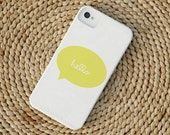 Cursive Hello Talk Bubble Barely-There Snap-On Hard Plastic iPhone 4 Case in Lemonade Yellow (In Stock & Ready to Ship)