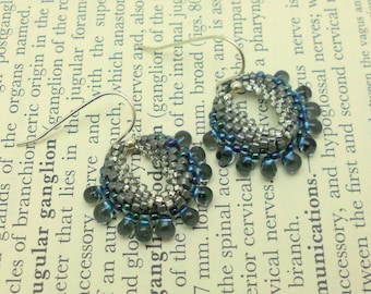 Handmade Silver and Blue Peyote Stitch Earring with Glass Drop Beads
