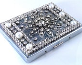 Vintage ID holder,cigarette case,silver,rhinestones,freshwater pearls & 1950s flower,bridal,wedding,business card,wallet,tobacco,smoker,gift