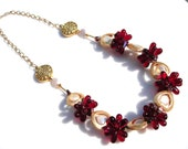 Brilliant Red and Gold Framed Pearl and Glass Blossom Necklace