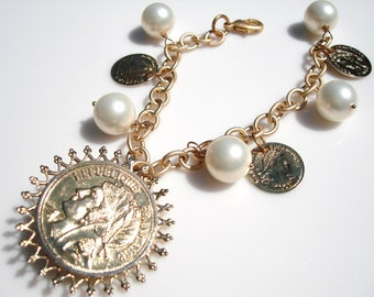 Upcycled Pearl Gold Coin and Crystal Cha Cha Charm Bracelet