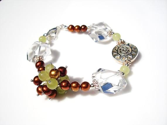 Cinnamon Pearl Celery Jade and Crystal Gemstone Bracelet