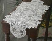 Handmade Wedding VTG Antique Handmade Table Doily Runner,Embroidery&Lace 72x32cm