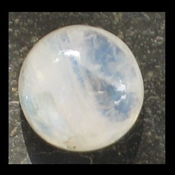 Rainbow Moonstone  12mm round x 5.5 mm  at 1.2 grams