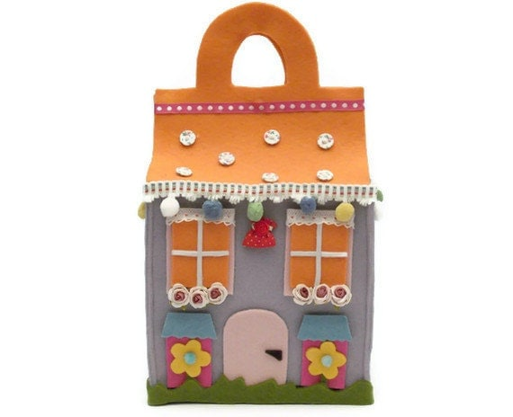 Felt Basket- Lilac and Orange Small House- Christmas Gift for Children and Baby-  Home Decoration- Children Room
