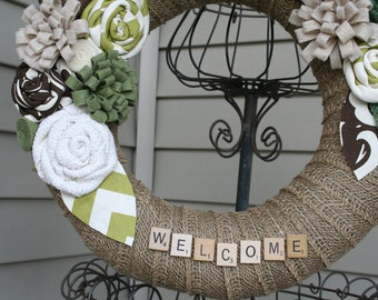 Burlap Wreath/Everyday/Scrabble Letters/Felt, Fabric and Burlap Flowers/Roses/Spring/Summer/Top Seller